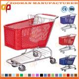 Caddie en plastique de bonne qualité de chariot à achats de grande capacité (Zht85)