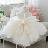Marfim Cordão personalizado Organza Flower Girl Dress