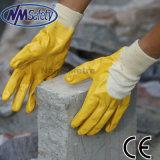 Nmsafety хлопка желтого цвета оболочки нитриловые перчатки безопасности покрытия