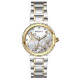 As mulheres de moda Senhoras Diamond vestido de pedra em aço inoxidável completa Lady Quartz Relógios de Ouro