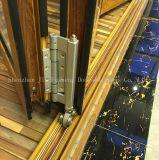 Wook-Mirada de puertas BI-Plegables de la doble vidriera de la aleación de aluminio