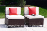 7PCS U Form-im Freien Garten-Weidenrattan-Patio-Möbel-Ecken-Sofa-Schnittaufenthaltsraum-Set