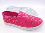 最も新しい子供の学校の平らな靴の注入のスリップオンのズック靴(ZL1017-9)