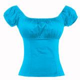 어깨 파란 블라우스 작물 상단 떨어져 여자 의류 제조자