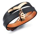 Retro braccialetti punk Homme della pelle bovina di 100% del cuoio genuino delle donne nuove del braccialetto