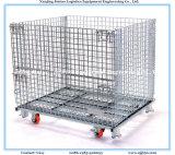 Armazém de malha de arame galvanizado recipiente de armazenamento com rodízios