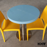 table basse 600X600mn ronde en pierre artificielle jaune