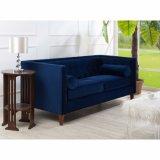 Divan moderne de tissu de sofa de velours de marine de meubles de salle de séjour (HD537)