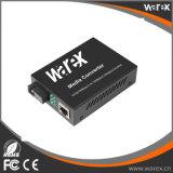 Convertidor 10/100/1000BaseT de los media (X) fibra del SC los 40km de 1000MBase-BX BIDI T1310/R1550nm a la sola