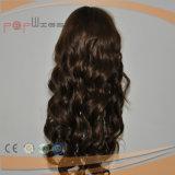 Peluca superior de seda del pelo humano del color de Brown (PPG-l-0881)