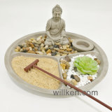 Tuin Zen van het Zand van de douane de Mini met het Standbeeld van Boedha