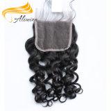 Fermeture libre normale de lacet de type de cheveux humains de Vierge de 100%