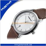 本革バンドが付いている高品質の水晶腕時計