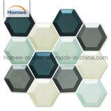 Tuiles de mosaïque en verre sculptées de mosaïque d'hexagone d'hexagone en verre de tuiles