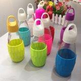 Запатентованная технология боросиликатного BPA бесплатные спортивные Heat-Resistant стеклянная бутылка воды с силиконовым гильзы