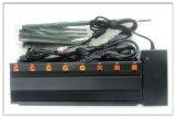 Nieuwe GPS van WiFi van de Macht van de Output van 8 Band Hoge 4G Stoorzender met de Lader van de Auto, GSM van Lte CDMA van 8 Antenne 4G 3G GPS WiFi VHF UHFTalkie van de Gang Cellulaire Stoorzender