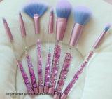 Escova sintética brilhante líquida de cristal 7PCS dos cosméticos da escova da composição das ferramentas da composição do cabelo