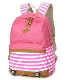 Os doces colorem o saco da High School de saco de escola das meninas listradas do saco do saco de ombro do dobro da lona do estilo marinha nova