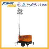 Generador de la torre de iluminación de gran potencia lámpara de halogenuros metálicos de cabrestante hidráulico o de la planta de torre de iluminación personalizados del alternador del motor Diesel tráiler