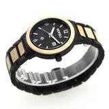 Acciaio inossidabile di disegno rotondo con l'orologio di legno del quarzo del regalo di natale del Mens della fascia e di caso