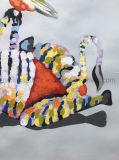عالة [هندمد] [أيل بينتينغ] فنية حيوانيّة عتّابيّ نوع خيش صورة زيتيّة لأنّ يعيش غرفة