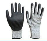 Pu Met een laag bedekte besnoeiing-Bestand Handschoenen Hppe met Ce