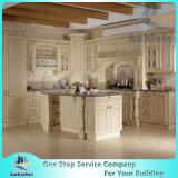 Alto estándar de calidad blanca de la coctelera de la puerta de madera sólida del gabinete de cocina