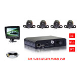 4CH Car DVR Recorder para pequeno carro, 3G / GPS / WiFi Remote Mobile DVR