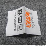 Material de cetim personalizado Etiqueta de impressão de fundo branco puro