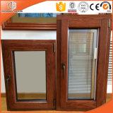 アルミニウム覆われた木製の開き窓のWindowsの組み込みのブラインドアフガニスタンの顧客のための必要なシャッター傾きおよび回転Windows