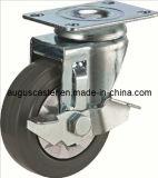 Side Brake Grey Elastic Rubber PU Wheelsとの媒体Duty/Swivel