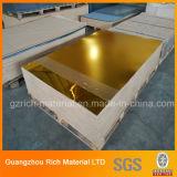 Espejo de oro de hoja de plástico acrílico para mostrar el caso