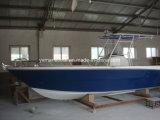 Fibra de vidrio de 8,5m en barco a motor con piso de madera de teca
