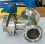 Controle de múltiplos de aço inoxidável do tipo T de Três Vias da Válvula Borboleta com alça