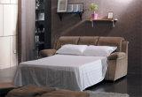Ledernes Sofa-Bett des Geweberecliner-Sofa-3seater