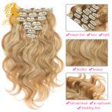 毛の拡張のクリップ拡張のブラジルボディ人間の毛髪クリップの16 26
