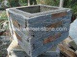 Pietra arrugginita naturale del cemento della parete dell'ardesia/impiallacciatura di pietra impilata rivestimento parete esterna