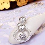 De Vorm van het Hart van de Verkoop van de buitenlandse Handel om Geplateerde Juwelen van het Ontwerp van de Halsband van de Tegenhanger Zircon de Mooie Zilver
