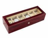 Boîte-cadeau en bois de mémoire d'étalage de 6 montres de fini de Brown Matt de bois de rose