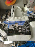 ジッパーおよびライニングが付いているフルカラーの完全な側面の印刷の綿袋