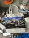 A todo color impresión lateral completa bolsa de algodón con cremallera y forro