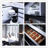 贅沢な台所は調理するか、または料理の販売のための2つのパックの光沢度の高いラッカー食器棚をカスタマイズした