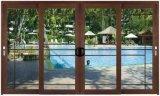 Орехового цвета пленки с покрытием Thermal Break алюминиевые раздвижные двери