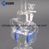 LENGUADO de cristal de las guarniciones y del petróleo de la flor de Waterpipe del reciclador que fuma (LY010)