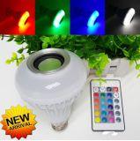 E27 B22 지능적인 RGB 램프 음악 LED Bluetooth 가벼운 점화 소리 스피커 전구