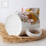 Copo de chá de China de osso do punho 330ml com impressão do decalque