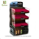 4 estantes cartón Piso Botella de Vino Display, pantalla de cristal de vino
