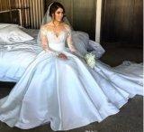 Vestido de esfera nupcial das luvas longas duas do laço do cetim partes de vestido de casamento A1709