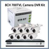 8CH 720 Ahd DVR con las cámaras del punto negro del CCTV 8PCS