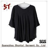 Le haut-parleur de toile de V-Collet de T-shirt de la mode des femmes de chemise noire de circuit gaine le T-shirt